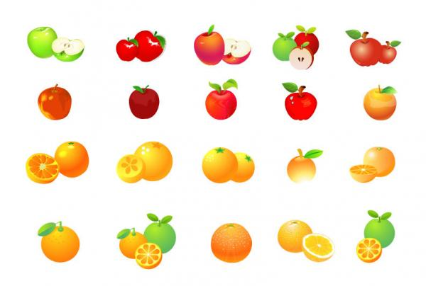 ผลไม้แอปเปิลส้ม