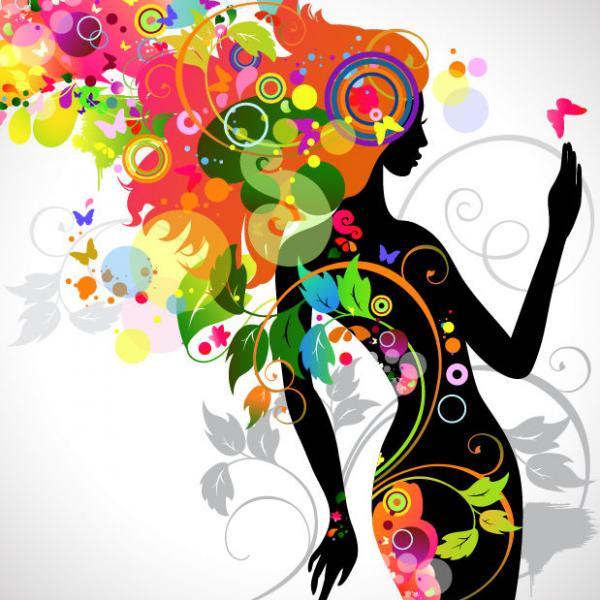 กราฟิกผู้หญิงและดอกไม้