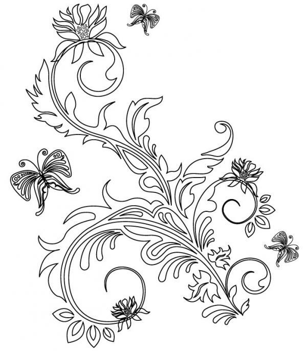 ลายเส้นดอกไม้กราฟิก