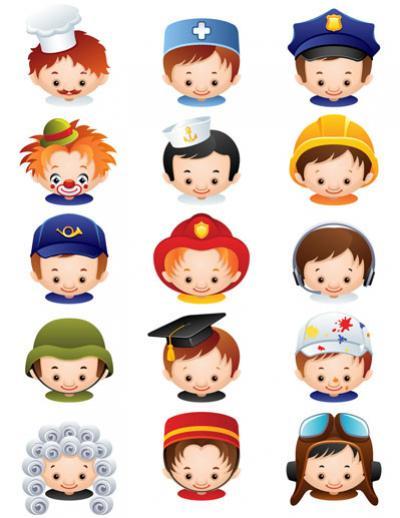 Cartoon Characters Jobs : ไอคอน บุคคล เซท ภาพเวกเตอร์ รูปกราฟฟิกลายเส้น ดาวน์โหลด
