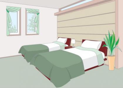 ห้องนอนเตียงคู่