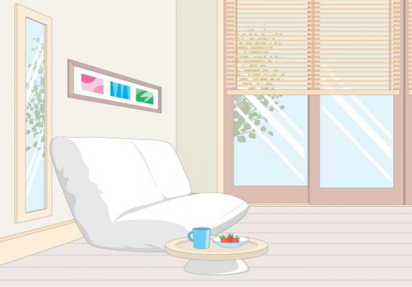 มุมพักผ่อนโซฟาสีขาว