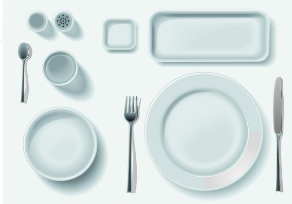 จานช้อนชุดรับประทานอาหาร
