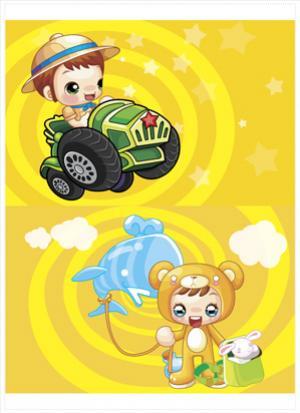 การ์ตูนเด็กขับรถ
