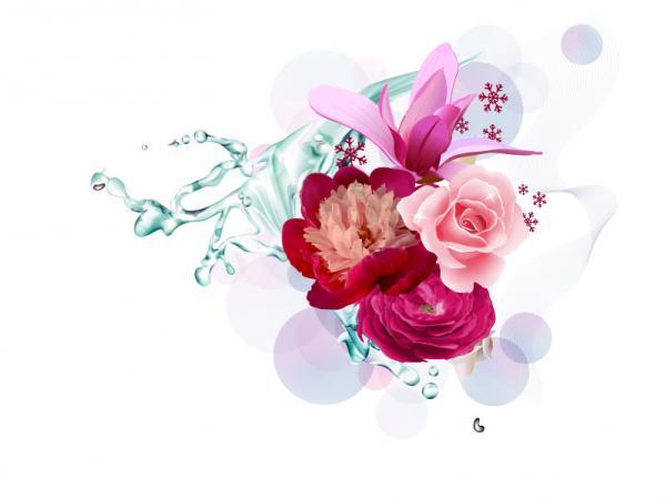 กราฟฟิกดอกไม้สวยงาม