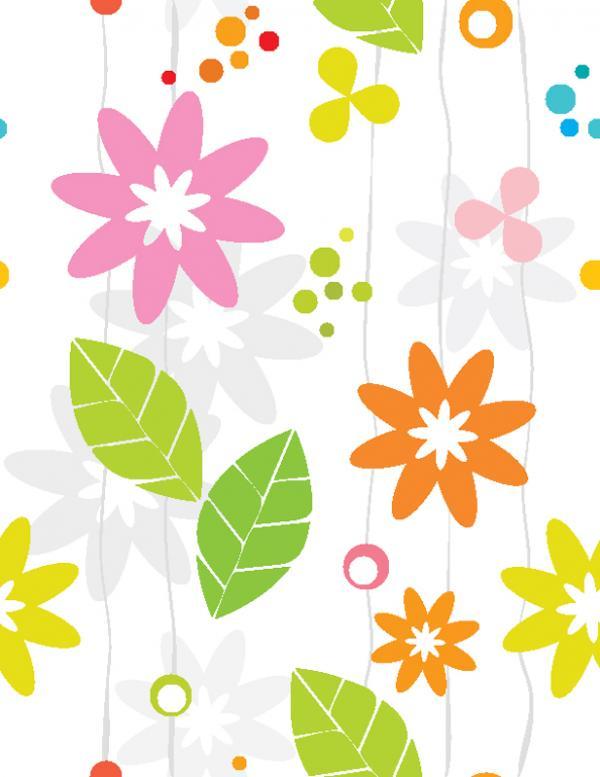 ใบไม้และดอกไม้สีสดใส