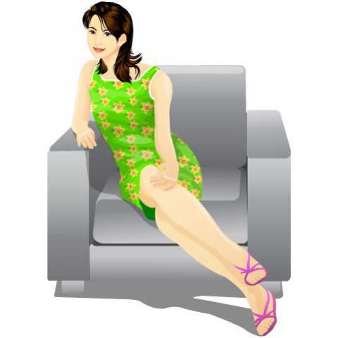 ผู้หญิงนั่งโซฟา