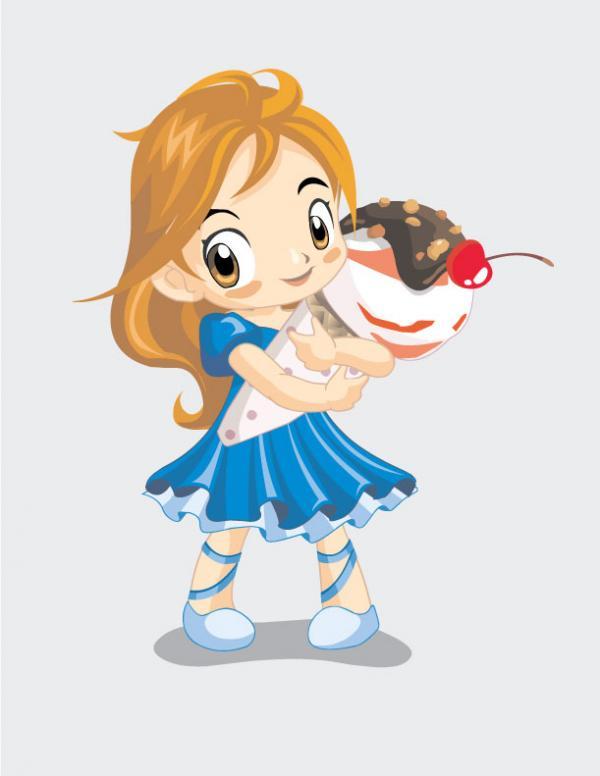 การ์ตูนเด็กผู้หญิงกับไอศครีม
