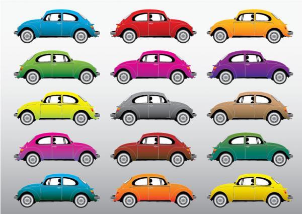 รถเต่าvwหลากสี